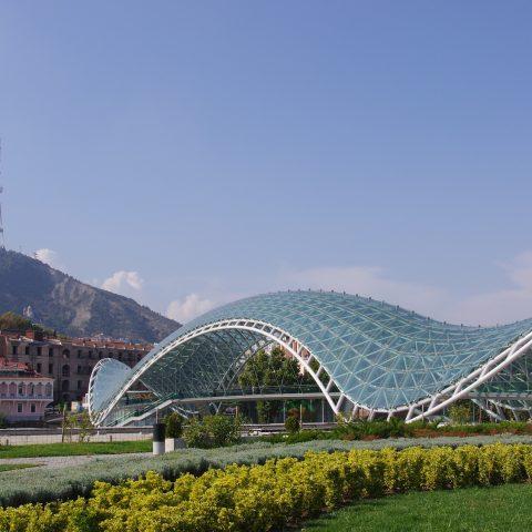 A view of the Bridge of Peace in Tbilisi, Georgia.